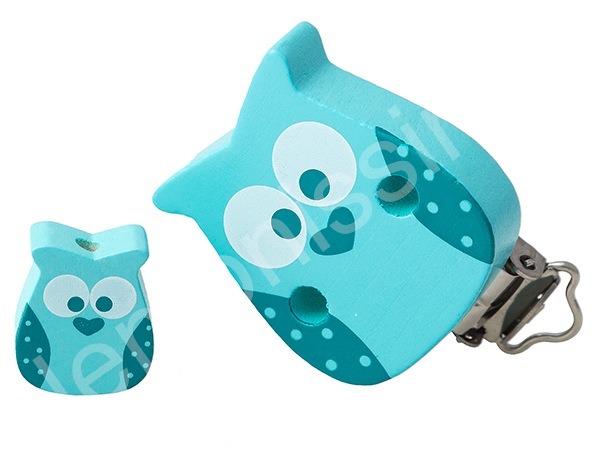 set clip owl + motif bead owl : light turqouise