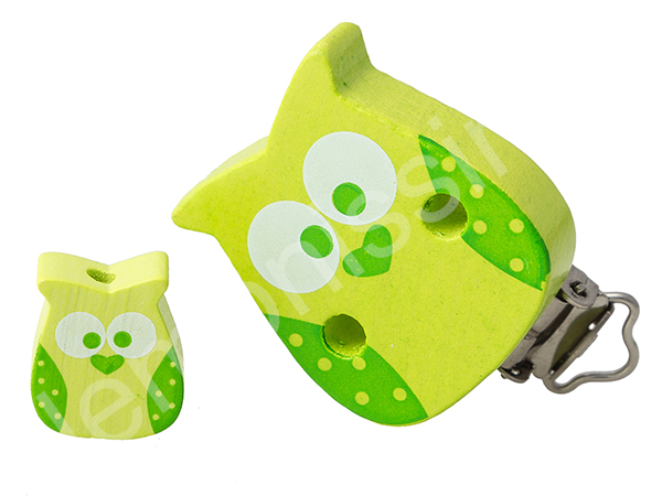 set clip owl + motif bead owl : lemon