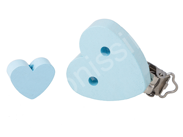 pacifier clip heartshape + mini heart : babyblue