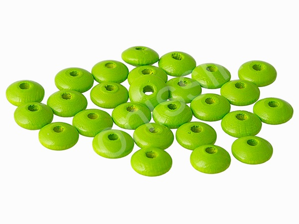 lenses wooden 10mm - 25 pieces : chartreuse