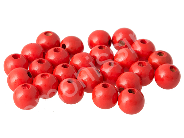 wooden beads, 12mm - 10pcs : red