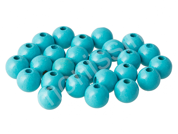 wooden beads 10mm - 25pcs : light turqouise