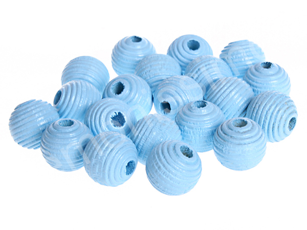 groove wooden beads 10mm - 10pcs : babyblue