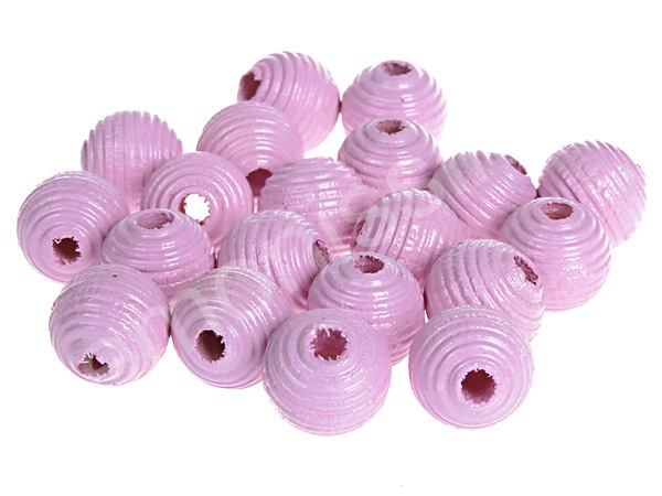 groove wooden beads 10mm - 10pcs : babypink