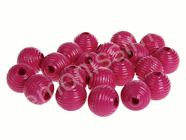 groove wooden beads 10mm - 10pcs : darkpink