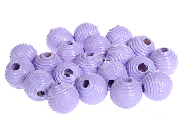groove wooden beads 10mm - 10pcs : lavender