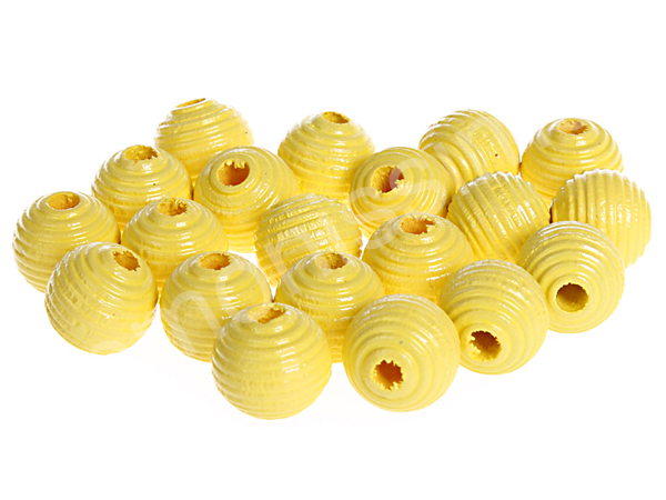 groove wooden beads 10mm - 10pcs : yellow