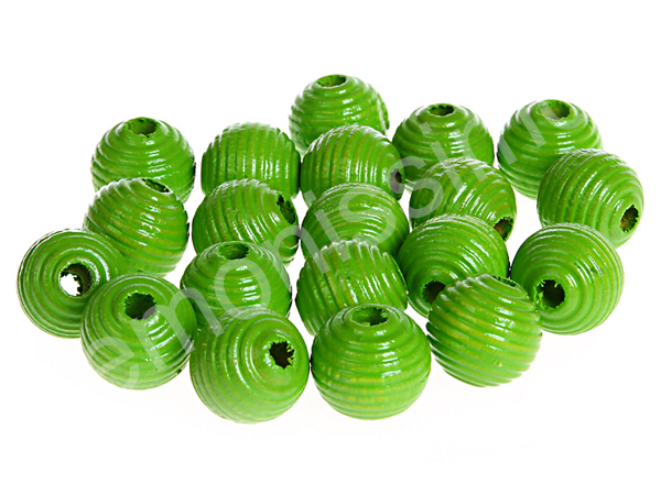 groove wooden beads 10mm - 10pcs : chartreuse