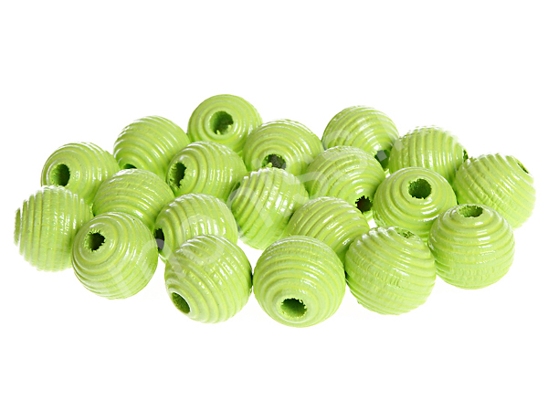 groove wooden beads 10mm - 10pcs : lemon