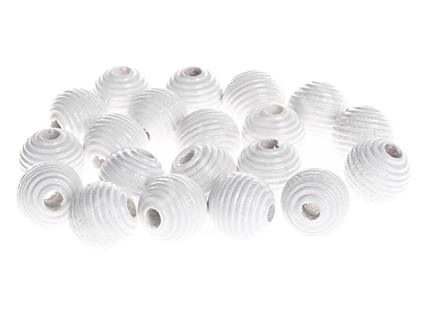 groove wooden beads 10mm - 10pcs : white