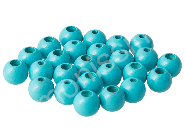 wooden beads 12mm with safety hole - 10 pcs : light turqouise