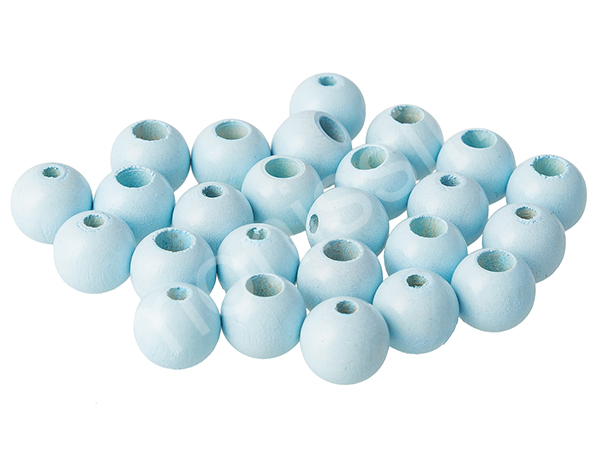 wooden beads 12mm with safety hole - 10 pcs : babyblue