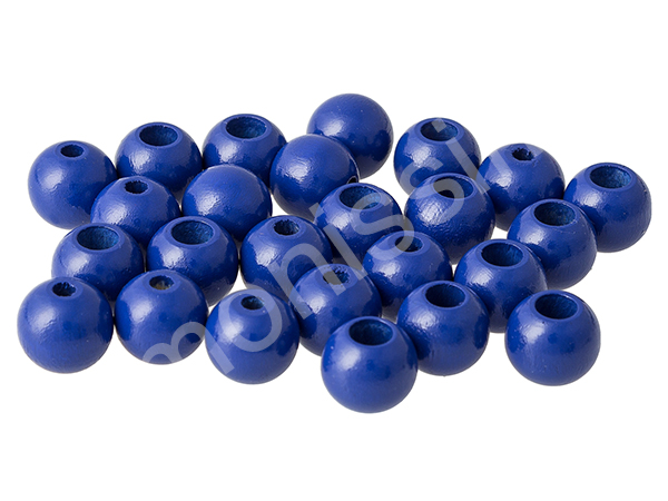 wooden beads 12mm with safety hole - 10 pcs : darkblue