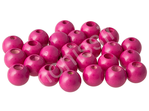 wooden beads 12mm with safety hole - 10 pcs : darkpink