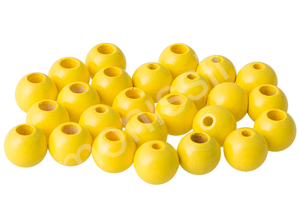 wooden beads 12mm with safety hole - 10 pcs : yellow