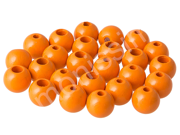 wooden beads 12mm with safety hole - 10 pcs : orange