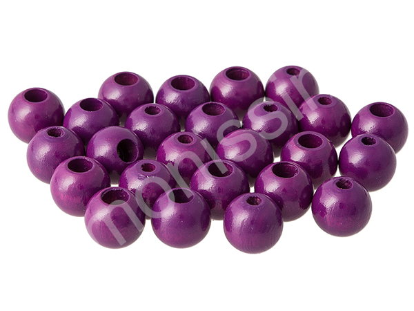 wooden beads 12mm with safety hole - 10 pcs : purple