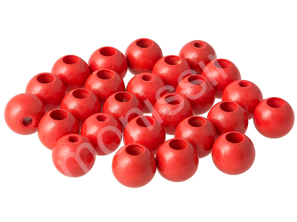 wooden beads 12mm with safety hole - 10 pcs : red