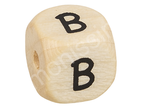 wooden letter beads 10 mms, A-Z, special characters : B