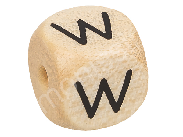 wooden letter beads 10 mms, A-Z, special characters : W