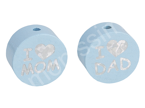 motif bead disc with glittery i love mom / dad : babyblue