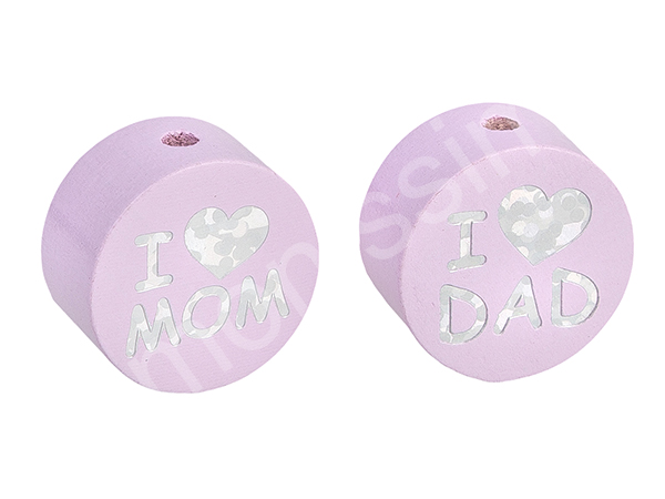motif bead disc with glittery i love mom / dad : babypink