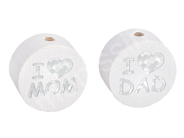 motif bead disc with glittery i love mom / dad : white
