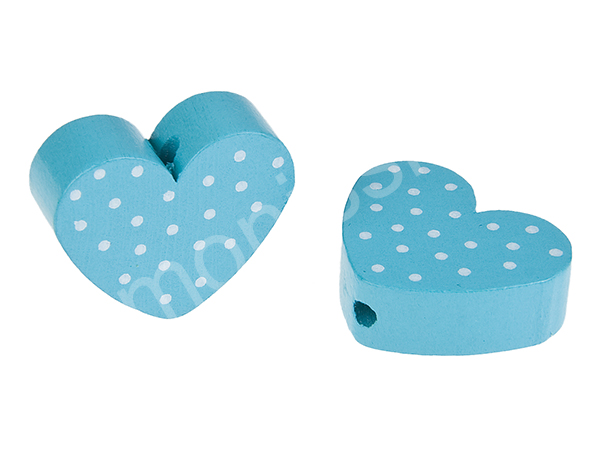 motiv bead mini heart dots : light turqouise + white