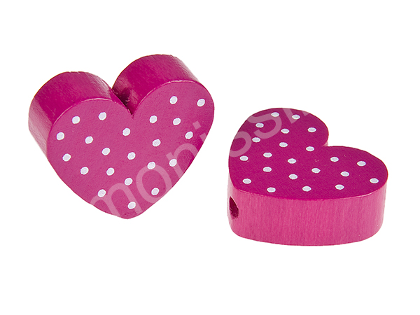 motiv bead mini heart dots : dark pink + white