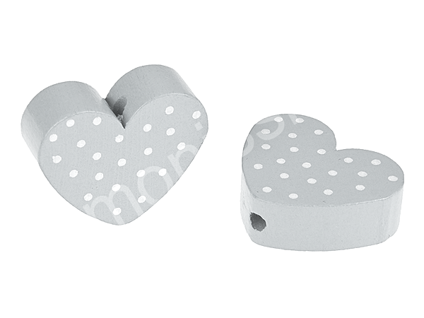 motiv bead mini heart dots : grey + white dots