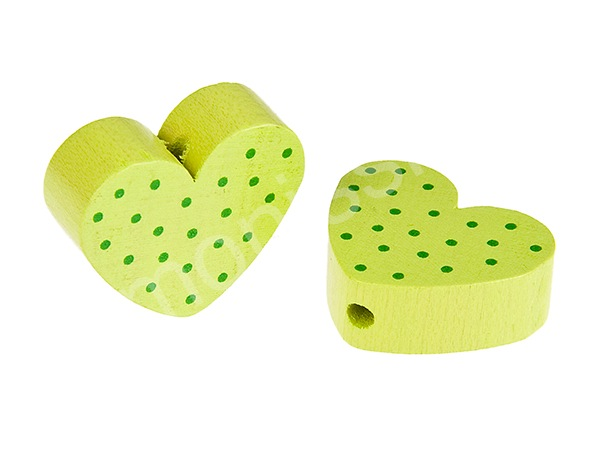 motiv bead mini heart dots : lemon + green