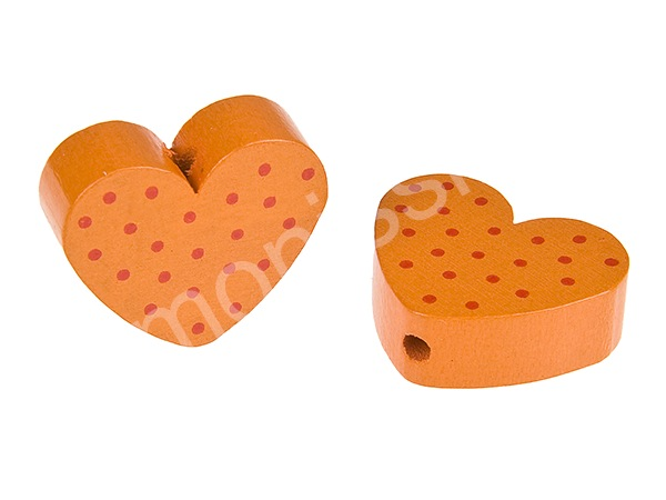 motiv bead mini heart dots : orange + red