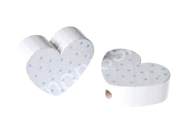 motiv bead mini heart dots : white + babyblue