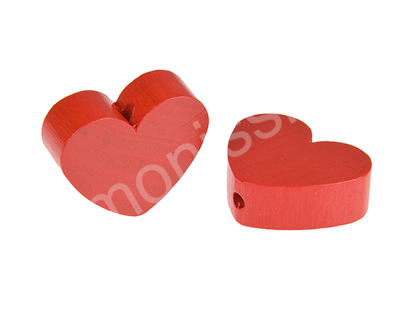 motif bead mini heart : red