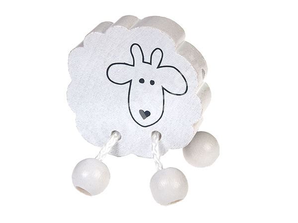 motif bead sheep with dangle feet : white